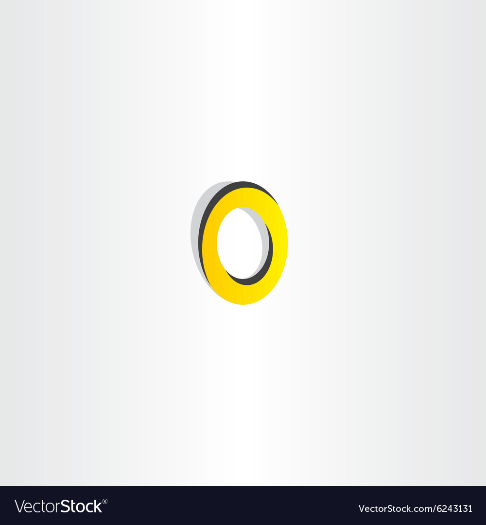 Yellow black letter o icon logotype vector image