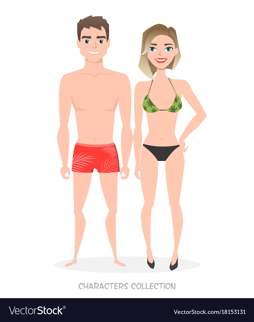 Young couple in beach clothes vector image