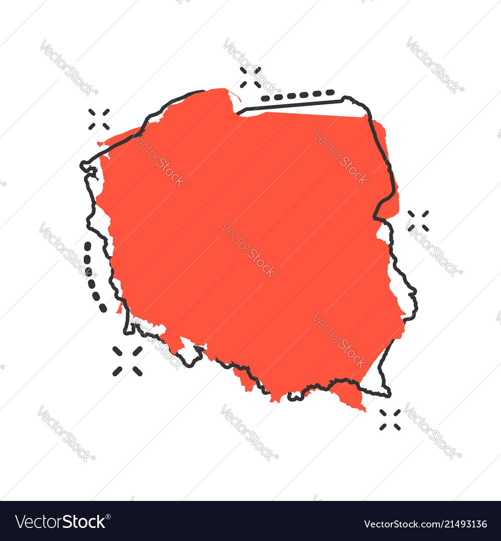 Cartoon Poland Map Icon In Comic Style Poland Vector Image