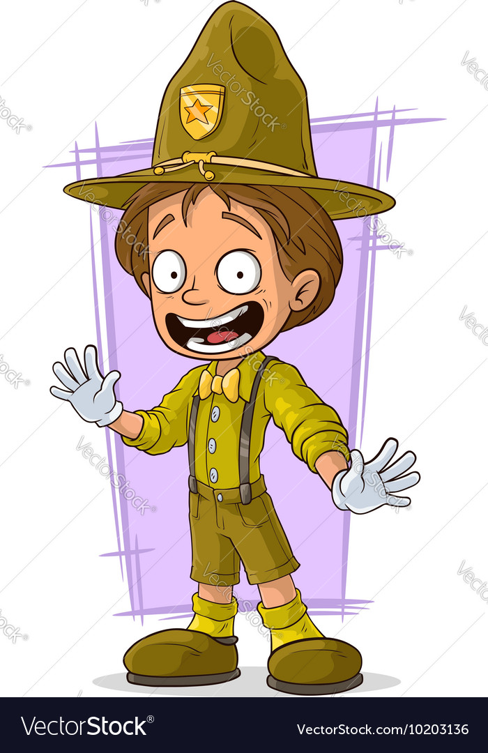 Cartoon smiling young boy-scout