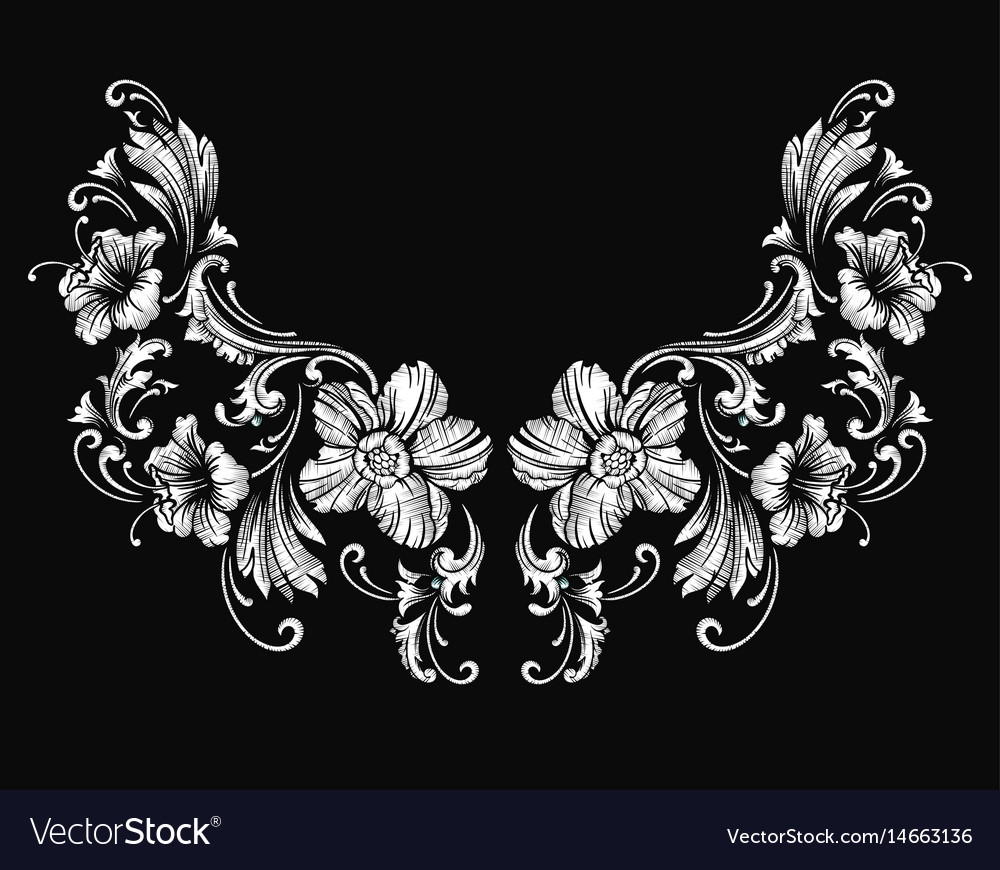floral neck embroidery design in baroque style vector image. Black Bedroom Furniture Sets. Home Design Ideas