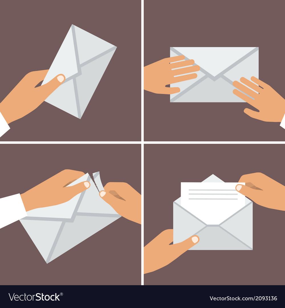 Hand Holding Envelope Flat style set