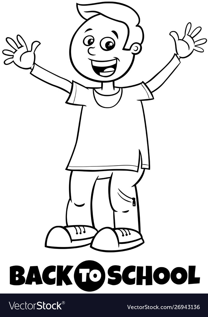 Happy boy back to school cartoon color book