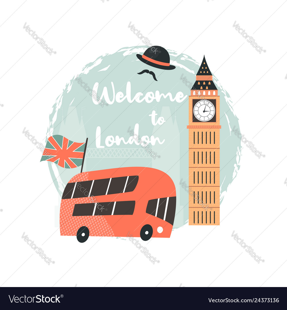 London background design with red bus big ben