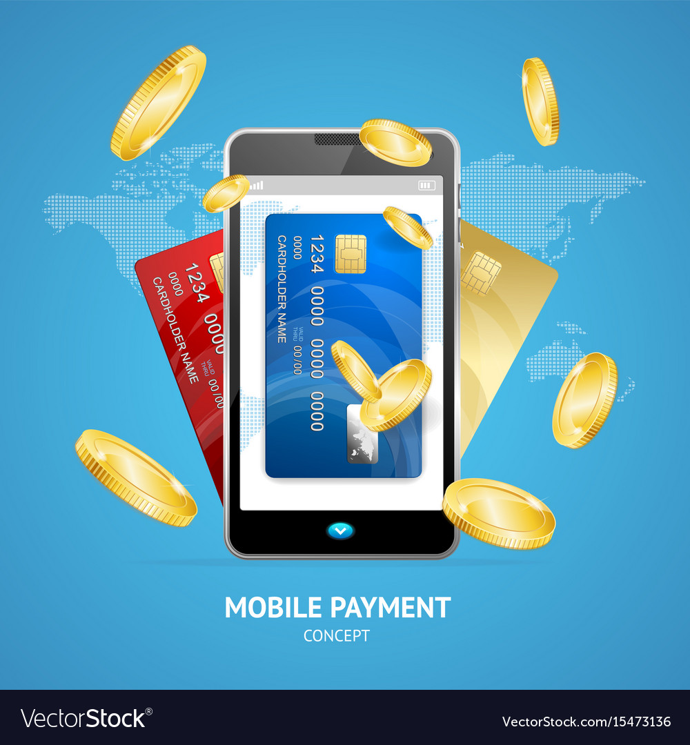 Realistic mobile phone payment concept with credit
