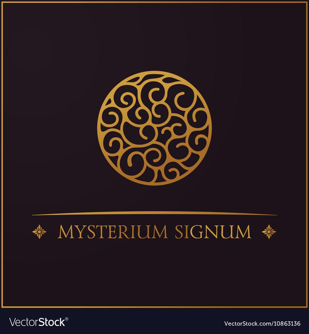 Round calligraphic emblem floral symbol