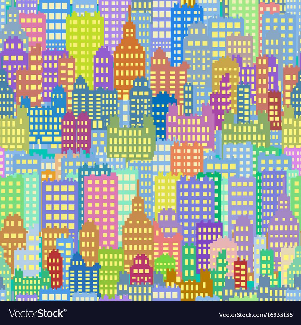 Seamless background with city building different