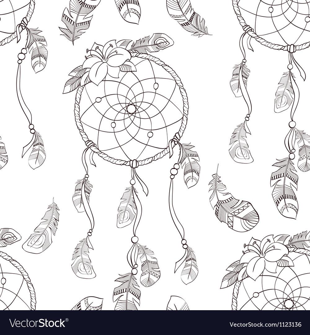 Seamless ethnic ornate dreamcatcher pattern