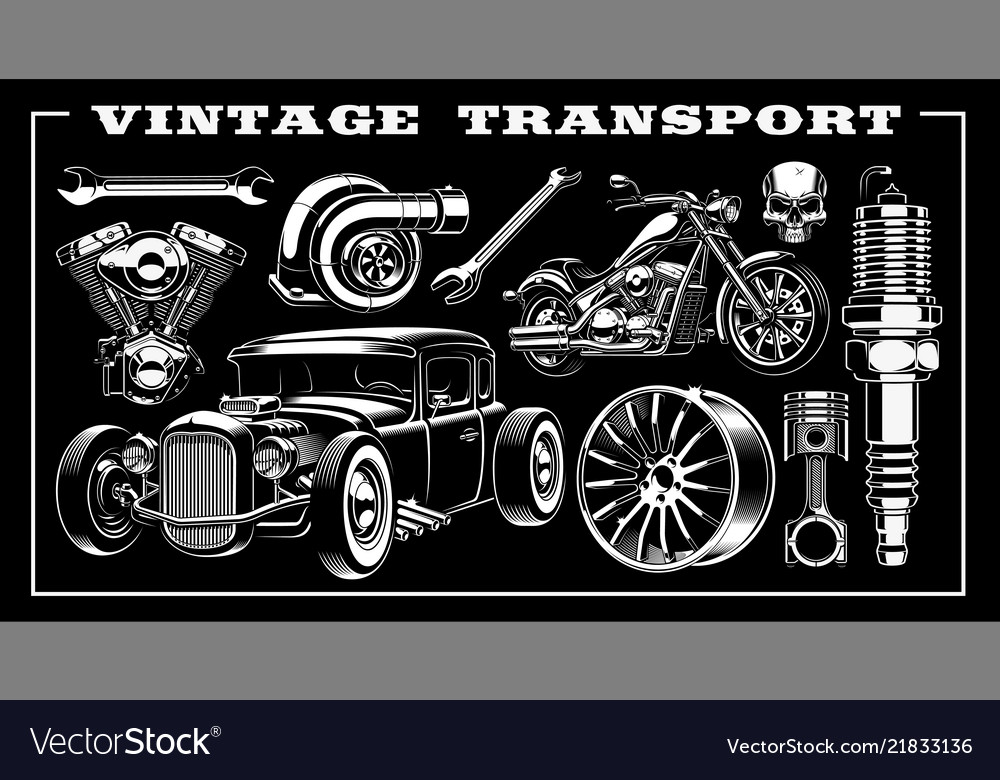 Set vintage transportation