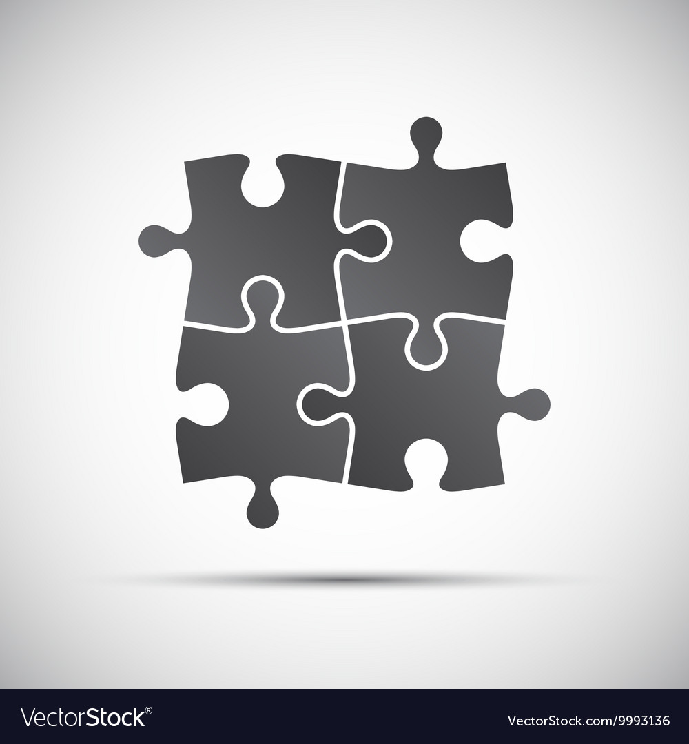 Simple of a four pieces puzzle Royalty Free Vector Image