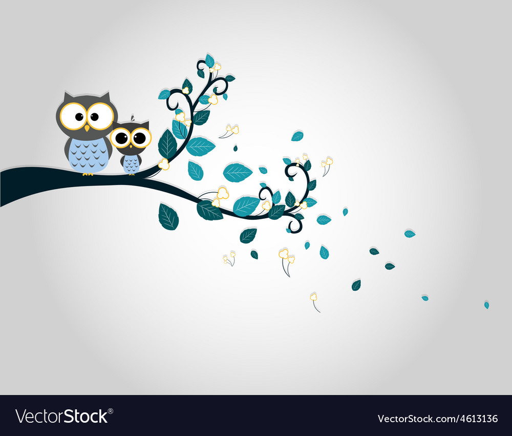 Two cute owls on a tree branch silhouette