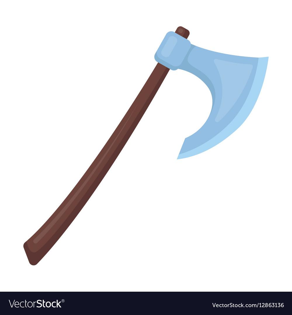Viking battle-axe icon in cartoon style isolated