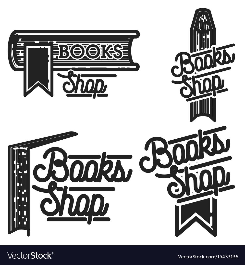Vintage books shop emblems