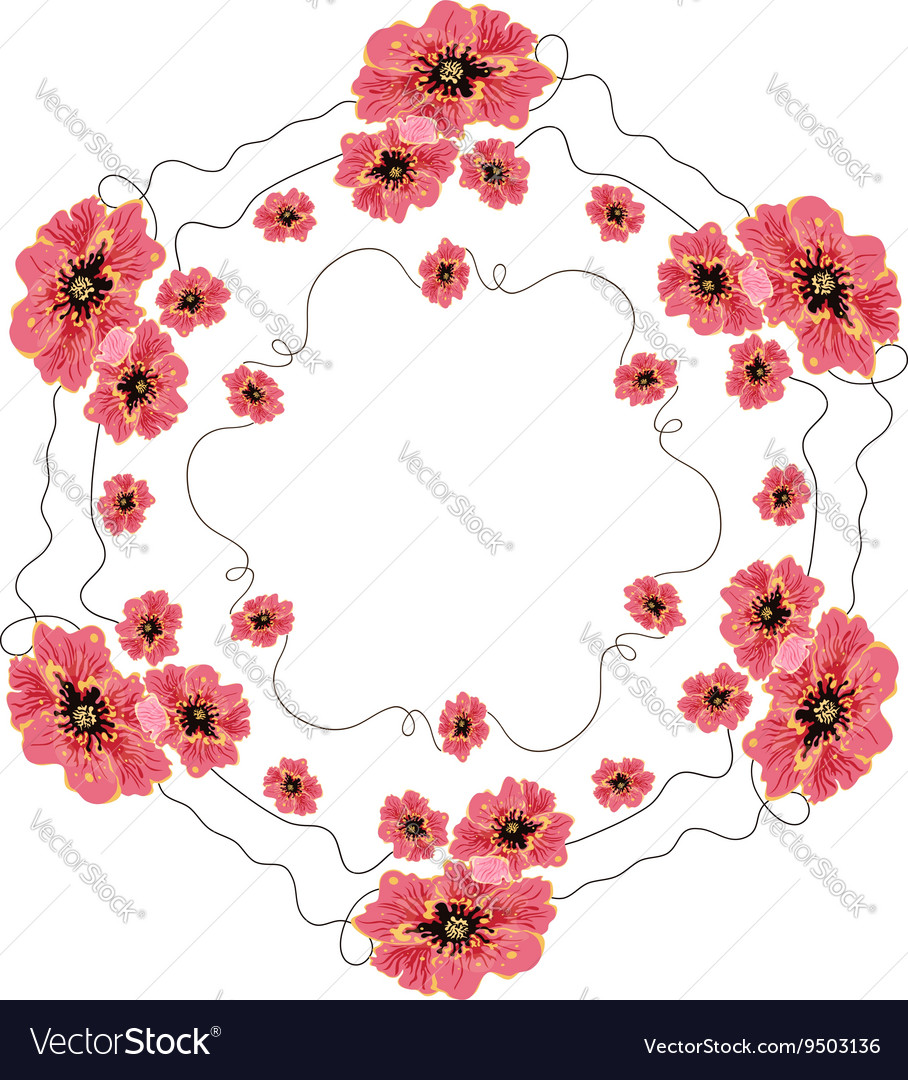 Wreath of red poppies