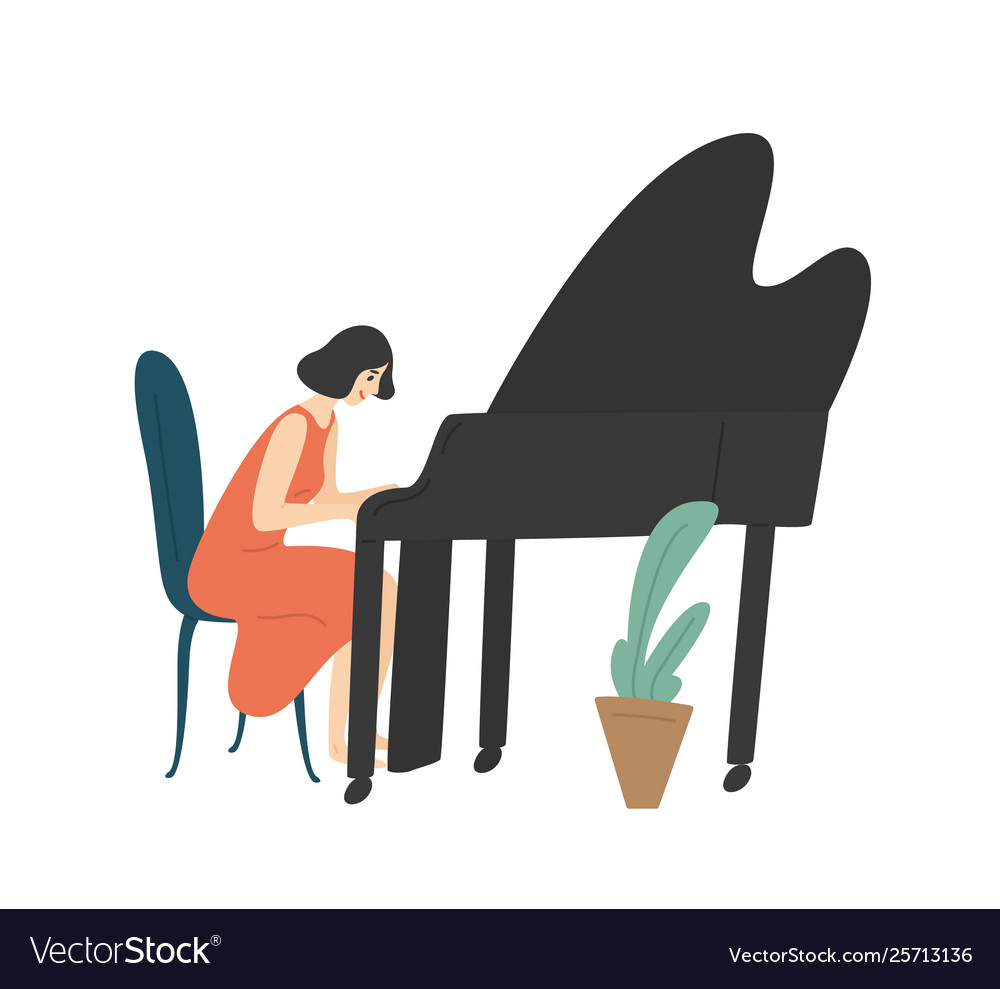 Young woman playing grand piano female pianist