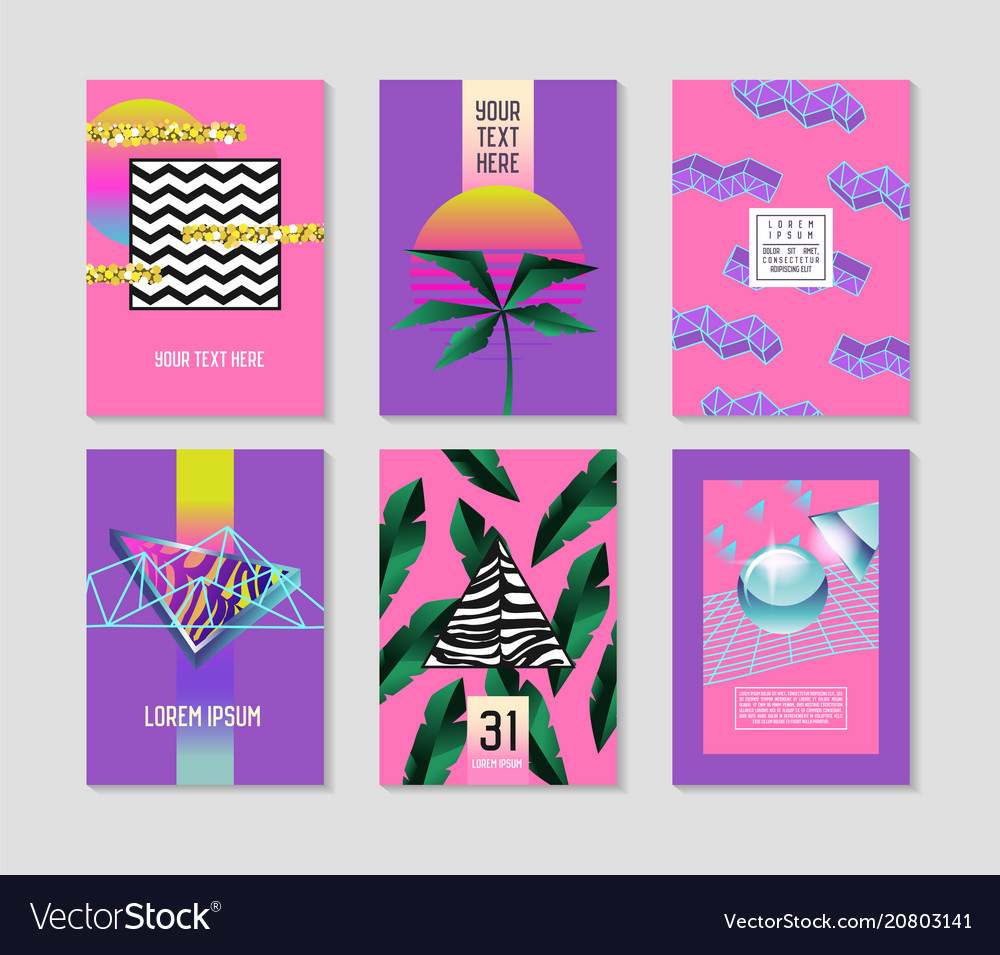 Abstract tropical posters set with palm leaves