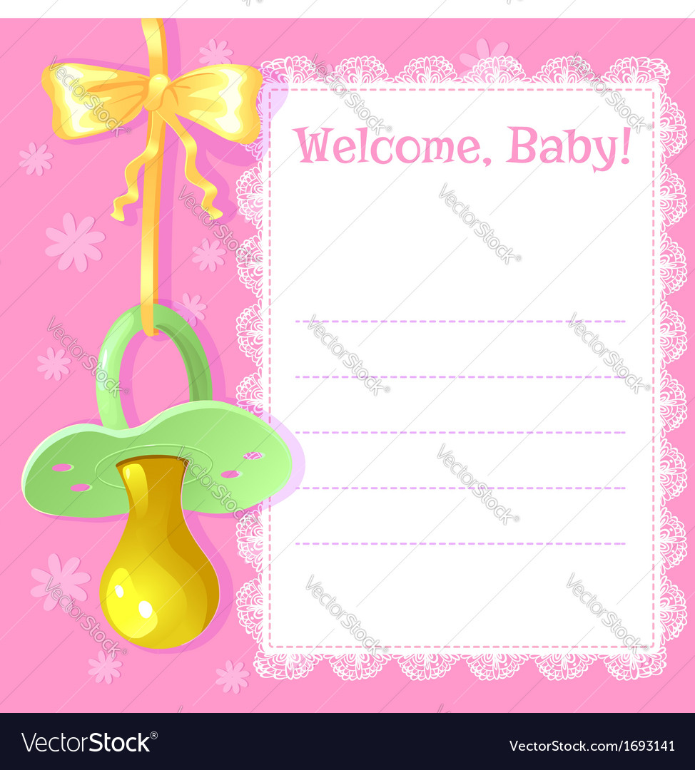 Baby greetings card with pacifier royalty free vector image baby greetings card with pacifier vector image m4hsunfo