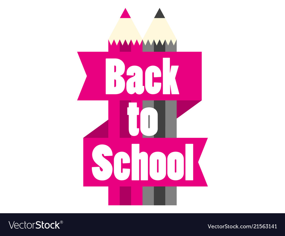 Back to school colorful pencil with ribbon and