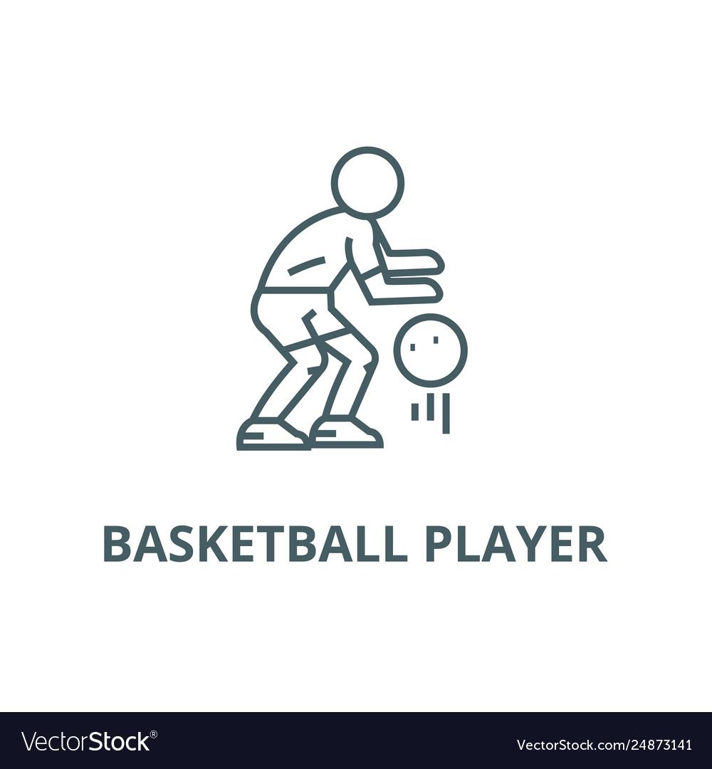 Basketball player line icon basketball