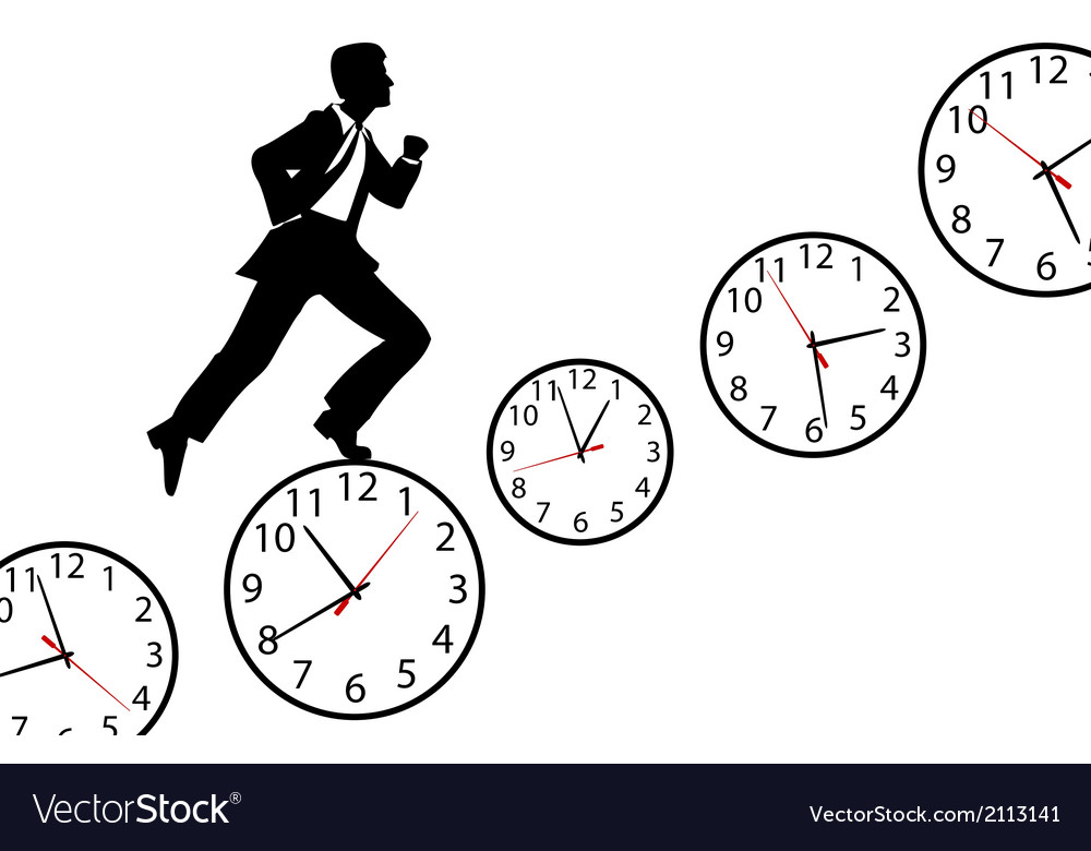 Busy man hurry up work day clock