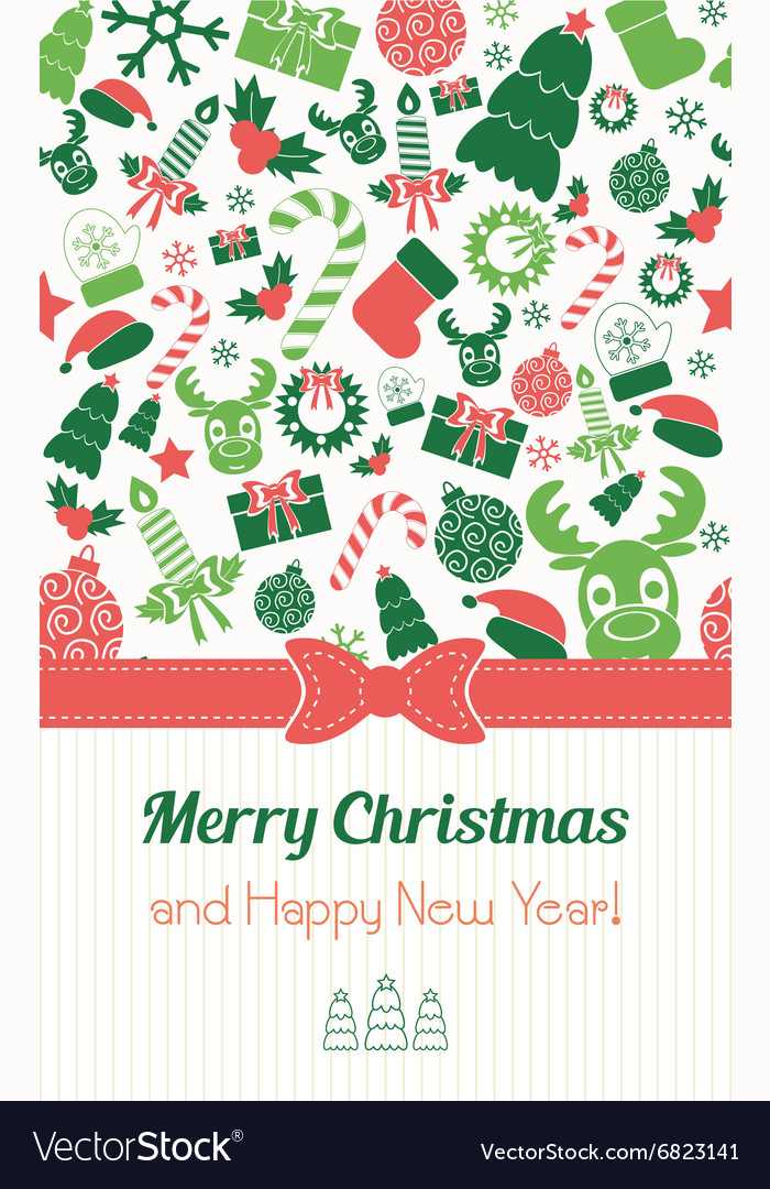 Christmas card in retro style Typography Flat
