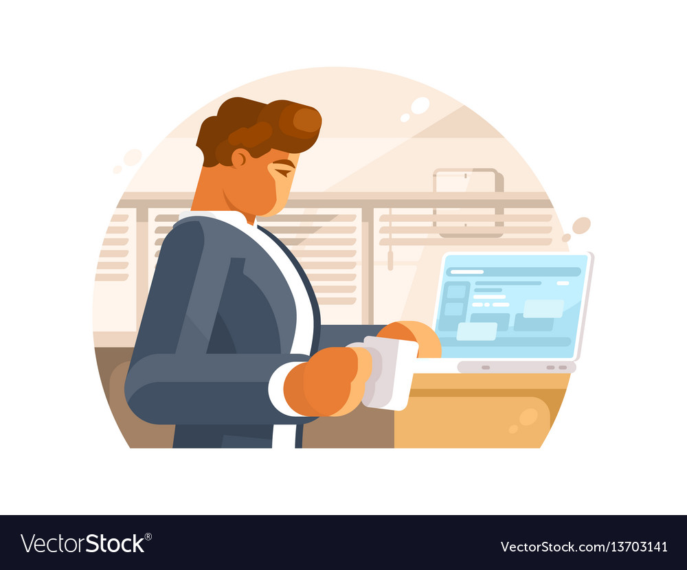 Confident businessman in workplace vector image