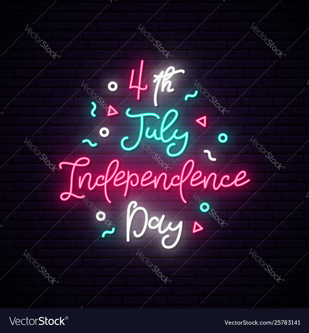 Happy independence day usa neon sign luminous