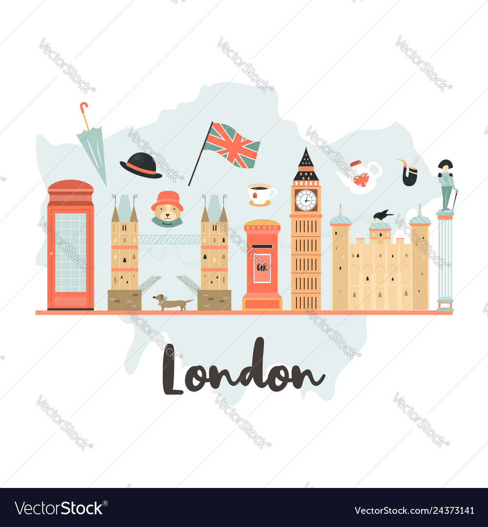 London background design with big ben tower