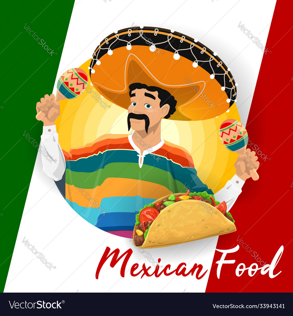 Mexican cuisine food with taco and mariachi man