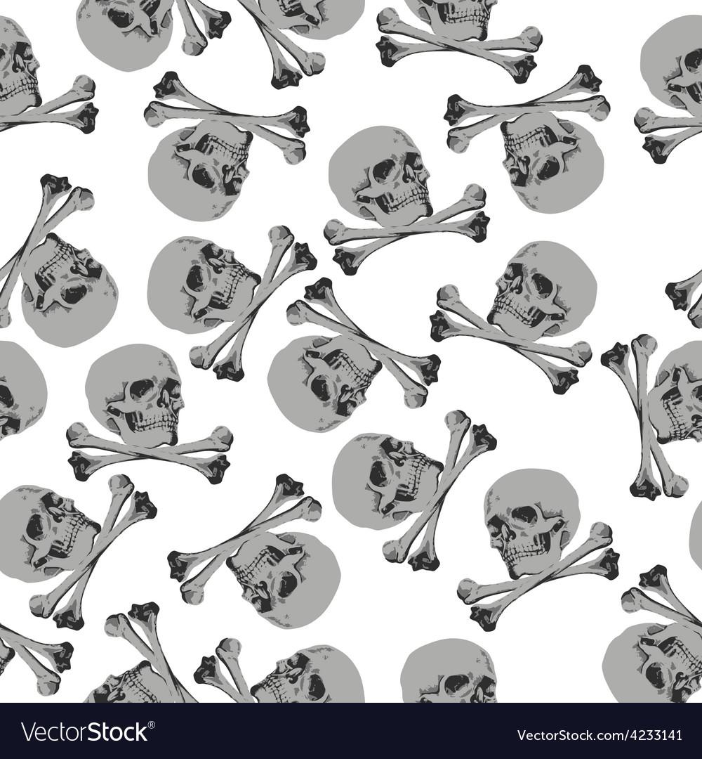 Seamless pattern Jolly Roger skull and crossbones