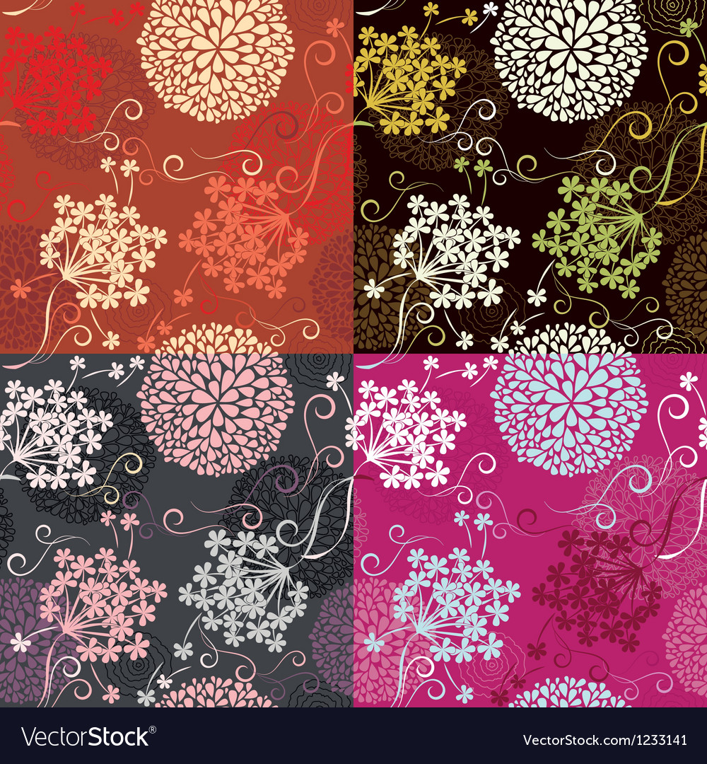 Set of Seamless patterns - floral backgrounds