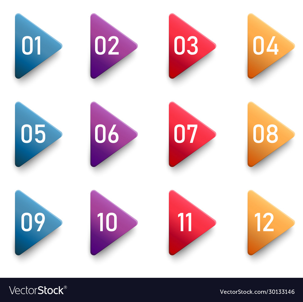 Arrow bullet point triangle flags with colorful