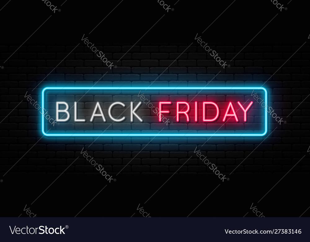 Black friday sale black friday neon sign on brick