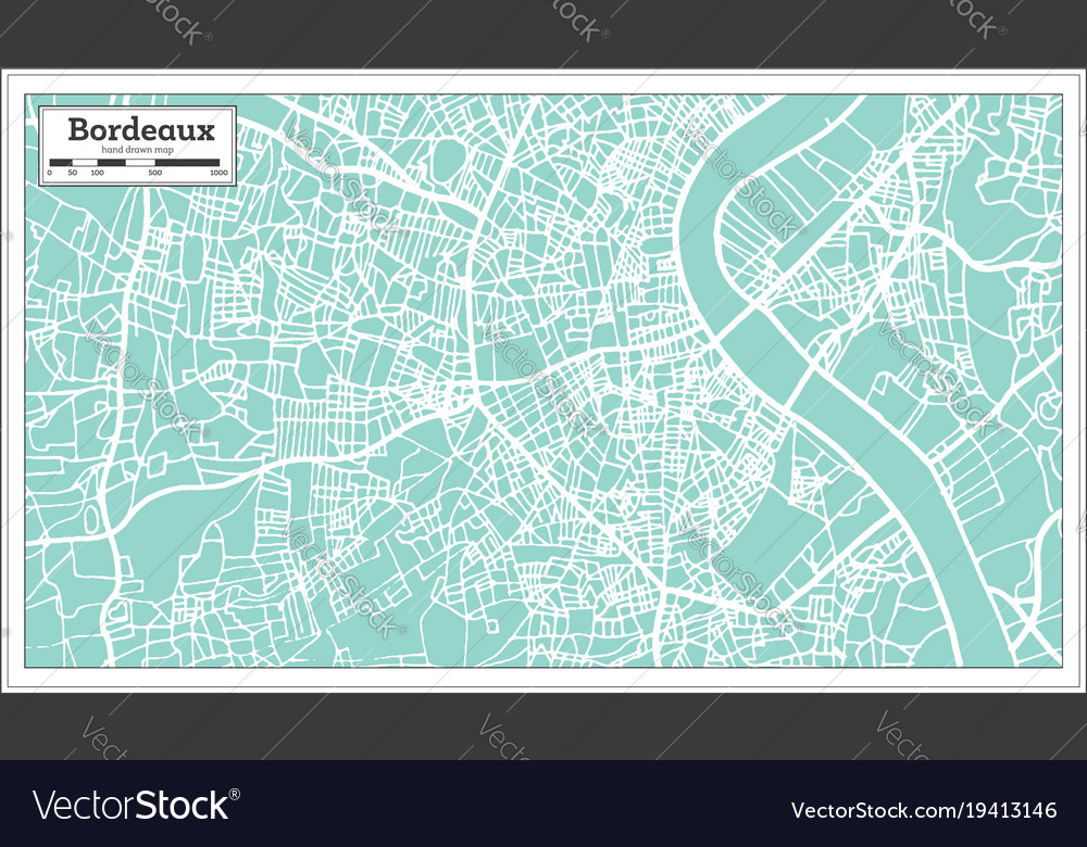 Bordeaux France City Map In Retro Style Royalty Free Vector