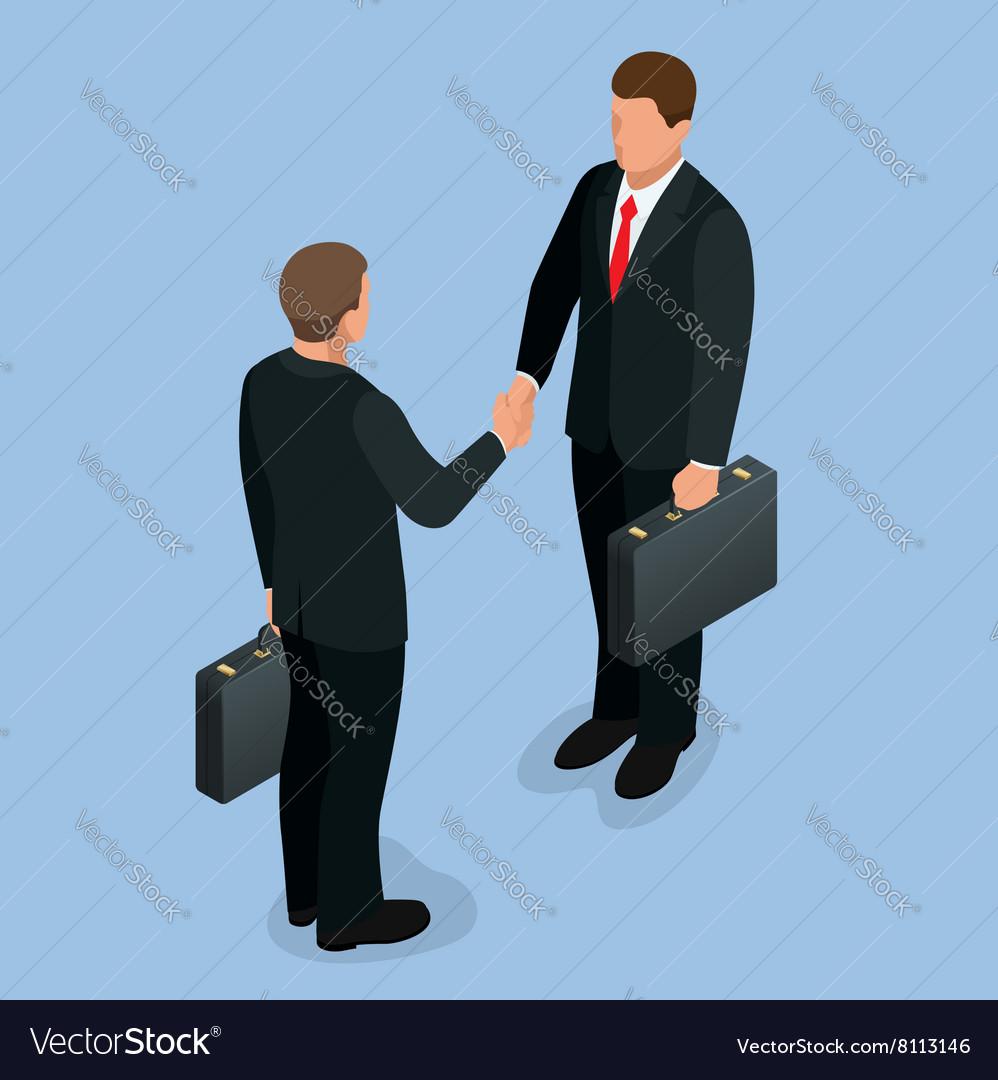Businnes handshake concept Handshake in flat