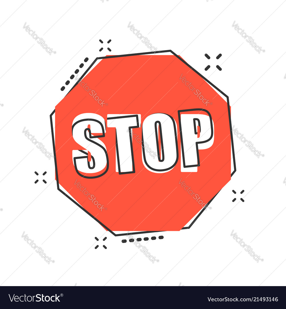 cartoon red stop sign icon in comic style danger vector image rh vectorstock com stop sign cartoon black and white stop sign cartoon png