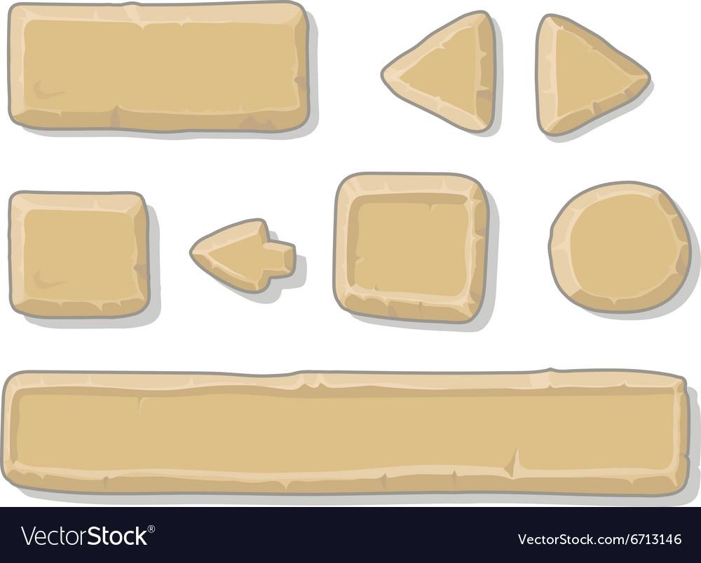 Cartoon stone game ui assets set isolated on