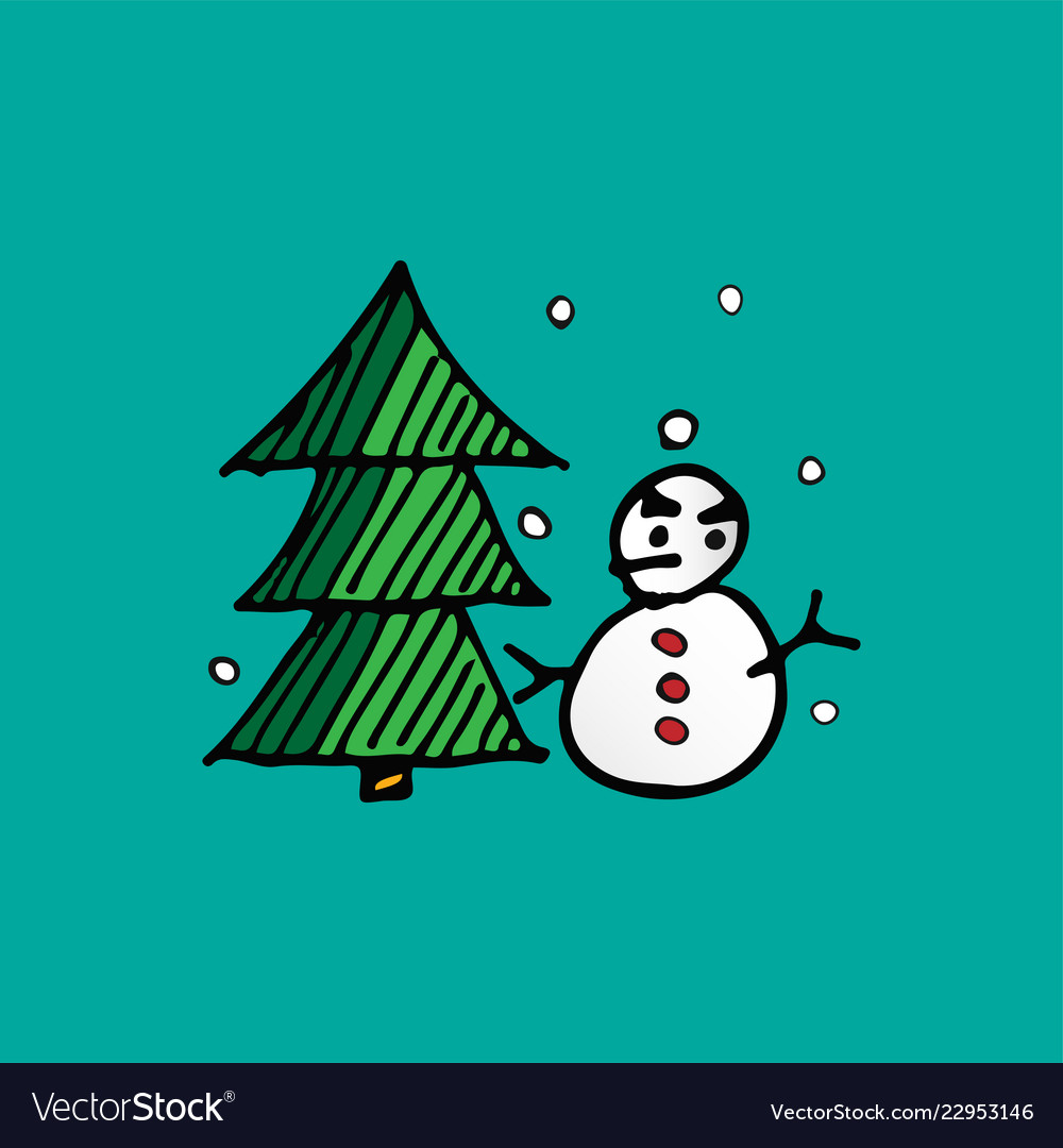 Christmas snowman and xmas tree doodle holiday