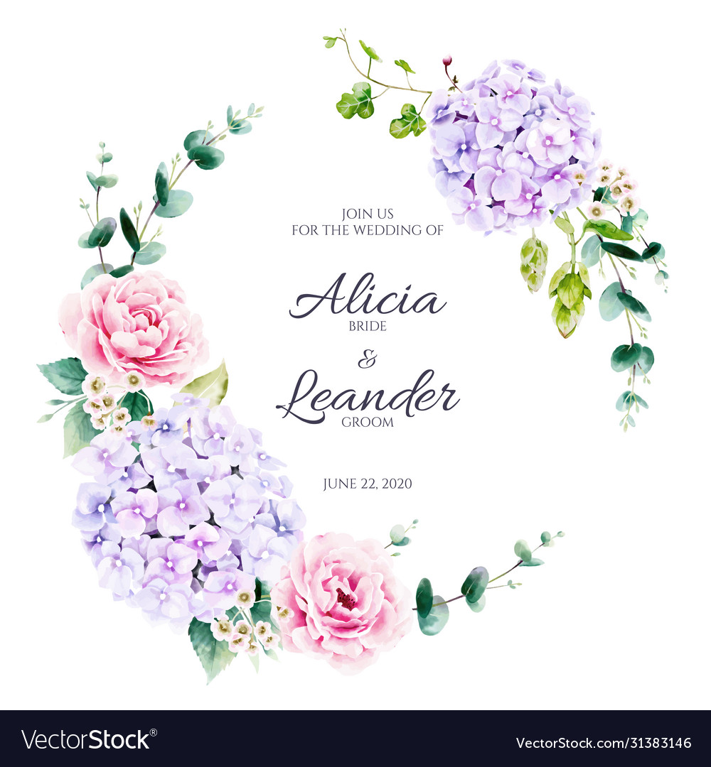 Floral and greenery wreath for wedding invitation