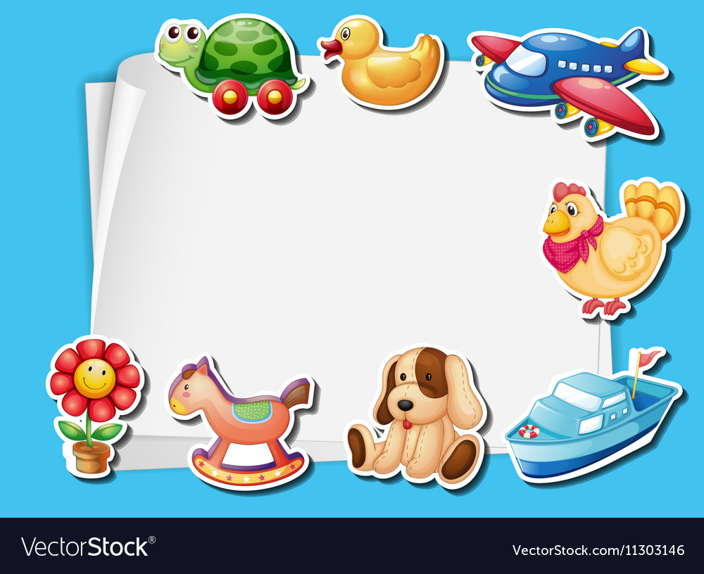 Frame Design With Many Toys Background Royalty Free Vector