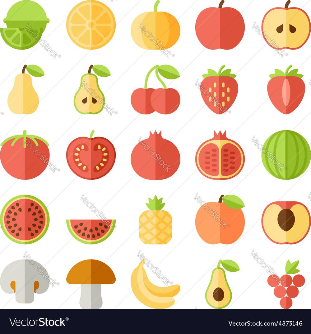 Fruit flat icon set