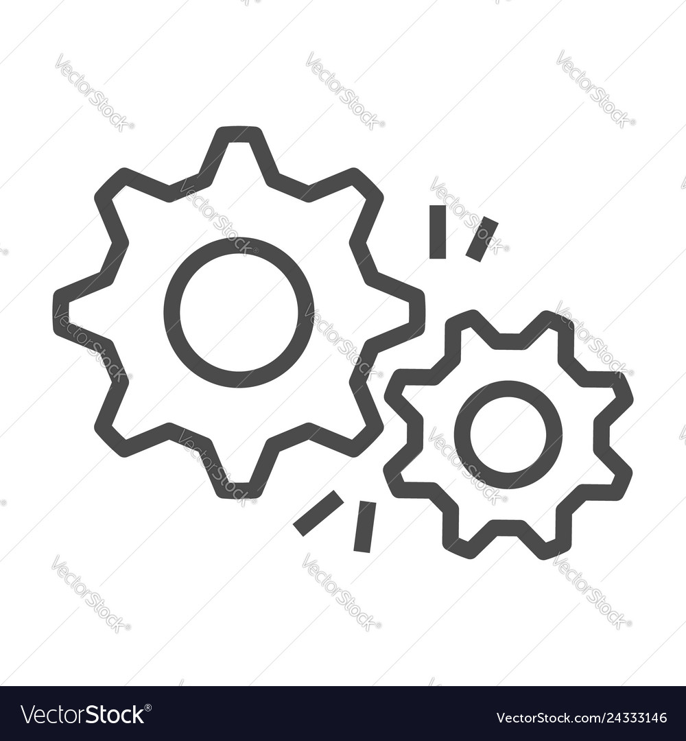 Gear outline icon flat design style