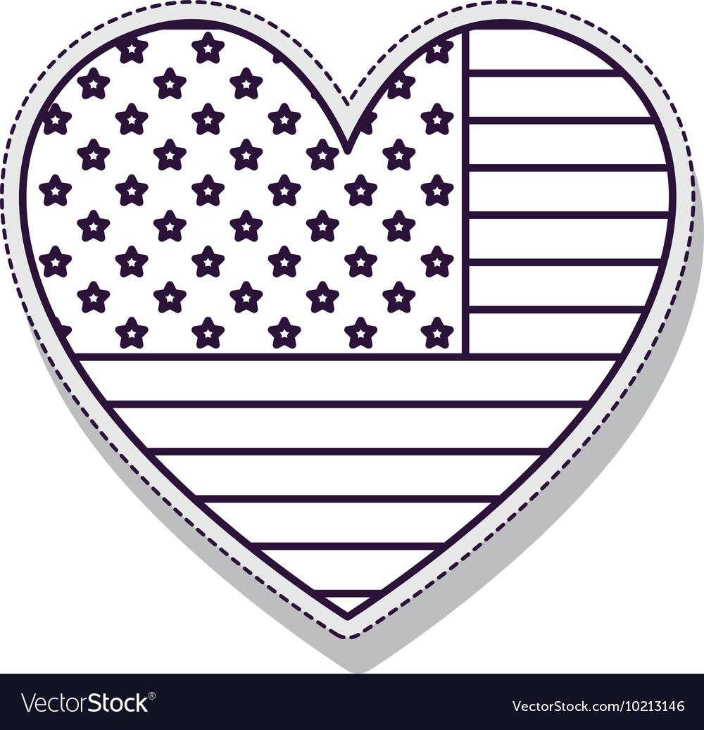 Heart usa flag isolated icon