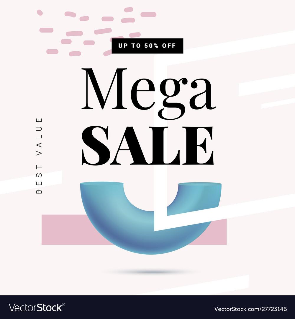 Mega sale offer banner template in trendy memphis