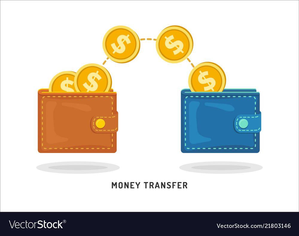 Money transfer between wallets flat styling