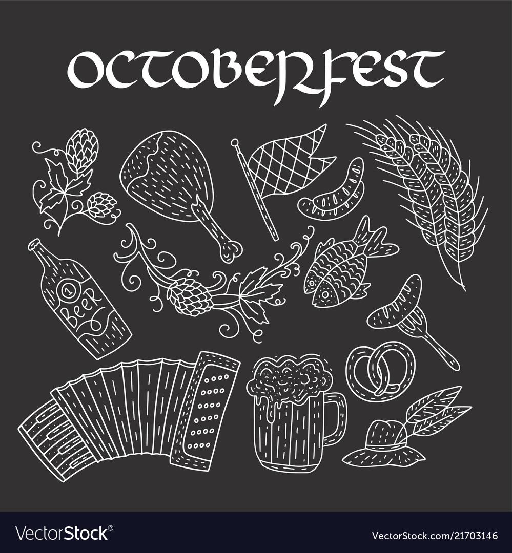 Octoberfest beer festival doodle hand drawn set