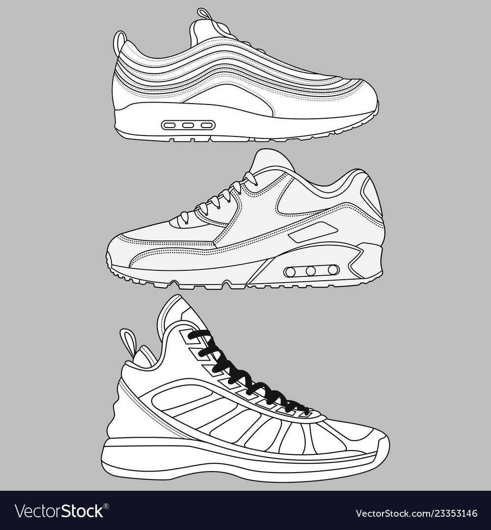 Outline basketball shoes