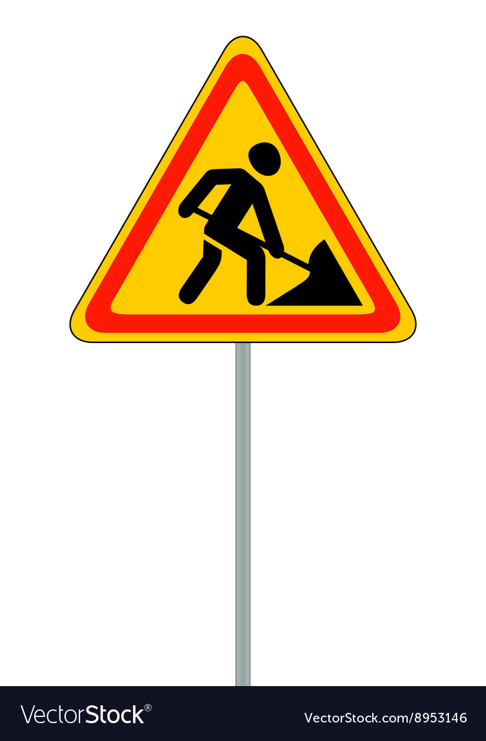 Road signs Roadworks on