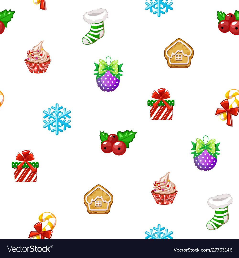 Seamless pattern with icons happy new year and