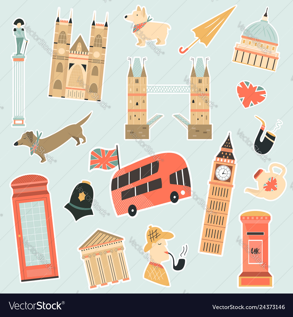 Set stickers with london landmarks and symbols